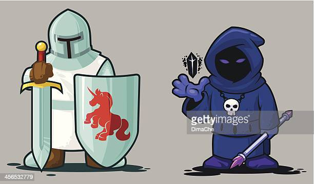 knight and necromancer - wizard stock illustrations, clip art, cartoons, & icons