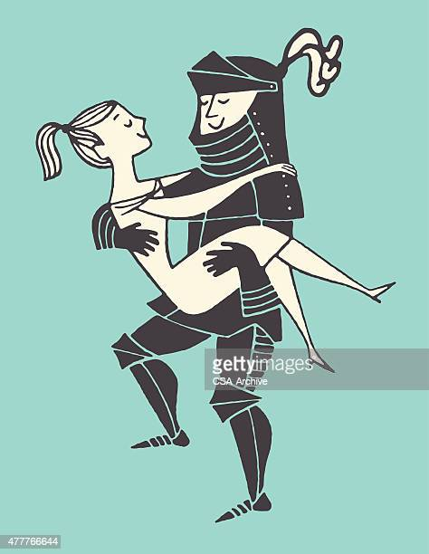 knight carrying woman - social grace stock-grafiken, -clipart, -cartoons und -symbole