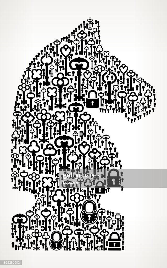 Knight Chess  Antique Keys Black and White Vector Pattern : stock illustration