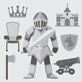 Knight flat cartoon with elements.
