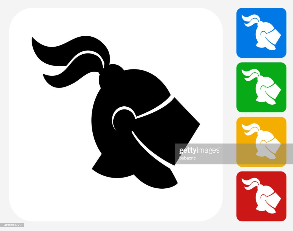 Knight Helmet Icon Flat Graphic Design : stock illustration