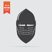 Knight helmet icon in flat style isolated on grey background.