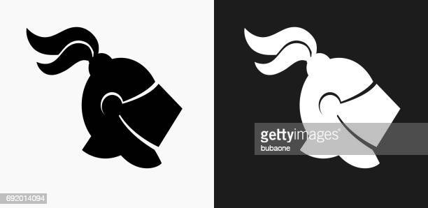 Knight Helmet Icon on Black and White Vector Backgrounds