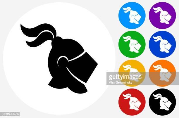 knight helmet icon on flat color circle buttons - sportturnier runde stock-grafiken, -clipart, -cartoons und -symbole