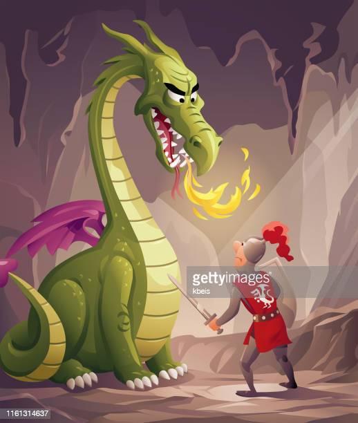 illustrations, cliparts, dessins animés et icônes de chevalier dans l'antre du dragon - courage