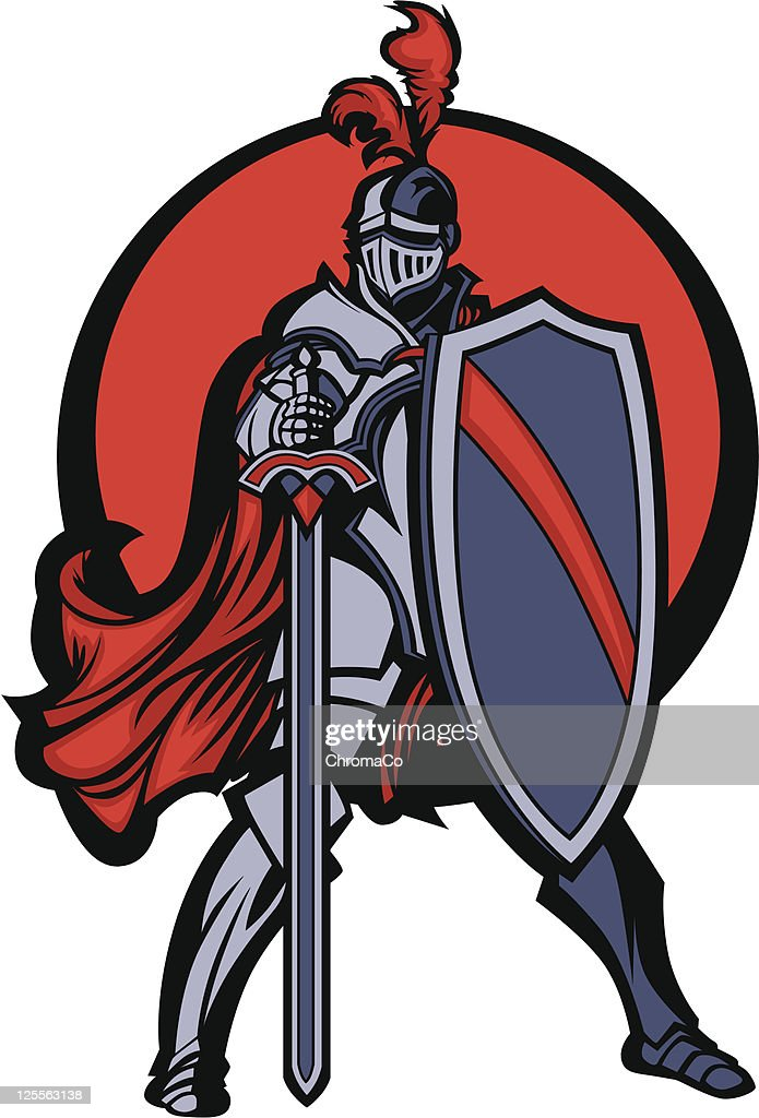 Knight Mascot with Sword and Shield Vector Image