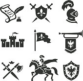 Knight medieval history vector icons set. Middle ages warrior weapons.