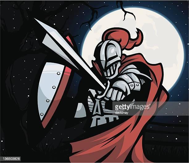 ilustrações de stock, clip art, desenhos animados e ícones de knight de noite - luta de espadas
