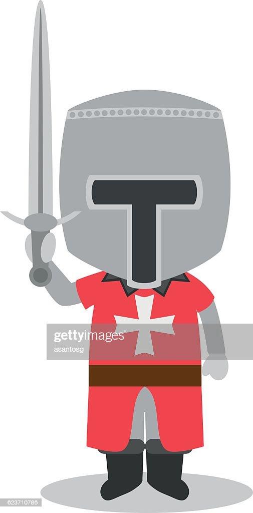 Knight of the Order of Malta cartoon character vector illustration