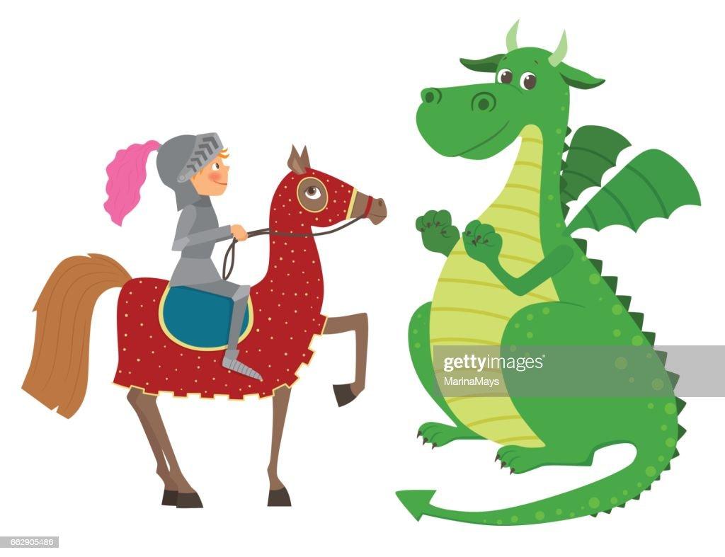 Knight on horseback and dragon