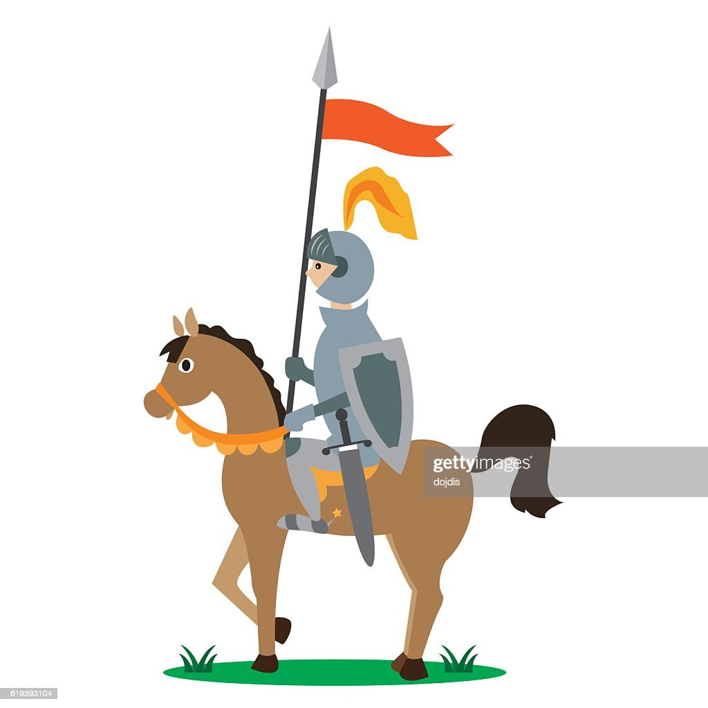 knight on horseback with a spear