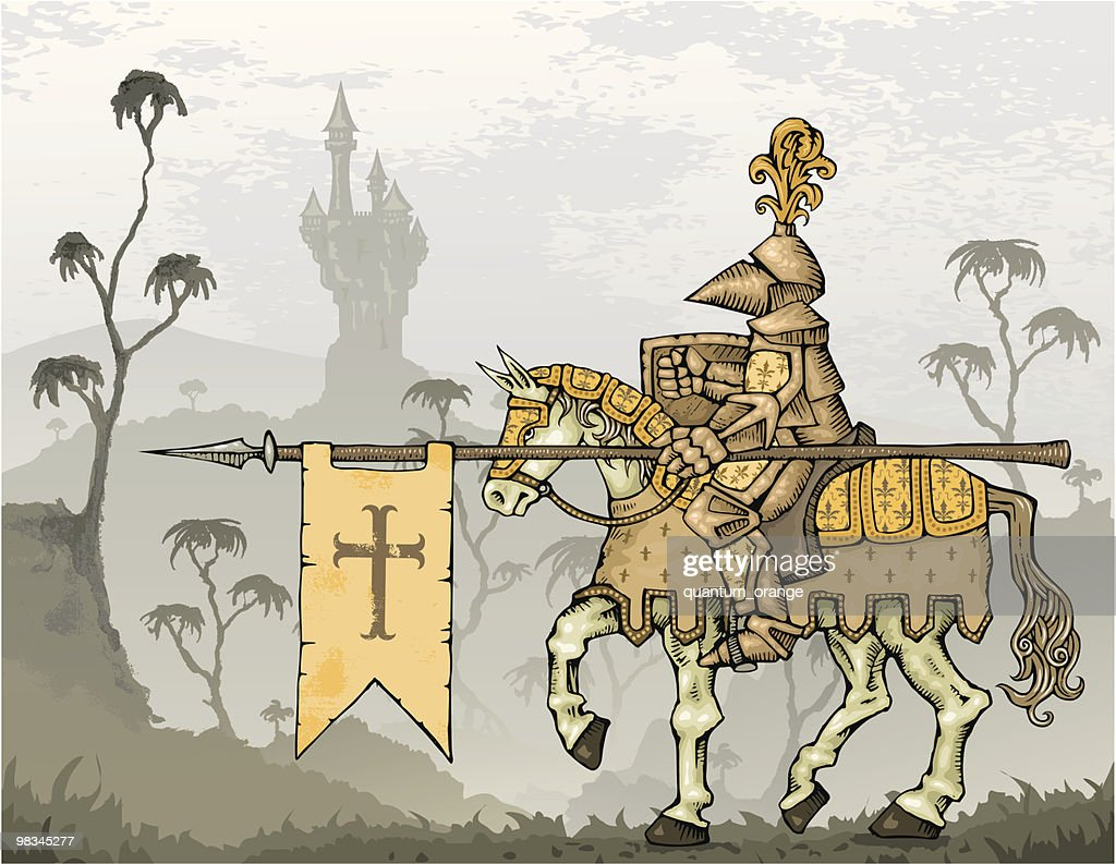 Knight on Horseback with Castle in Background : stock illustration