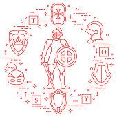 Knight, shields, swords, helmets, cubes.