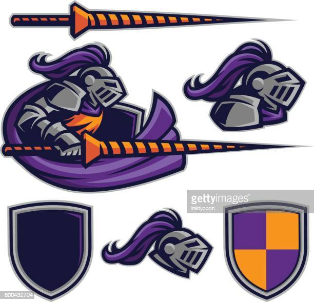 knight sport kit - fighting stance stock illustrations, clip art, cartoons, & icons