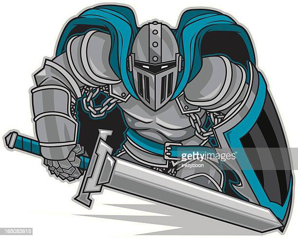 knight stance - warrior person stock illustrations, clip art, cartoons, & icons