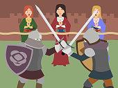 knight tournament vector cartoon