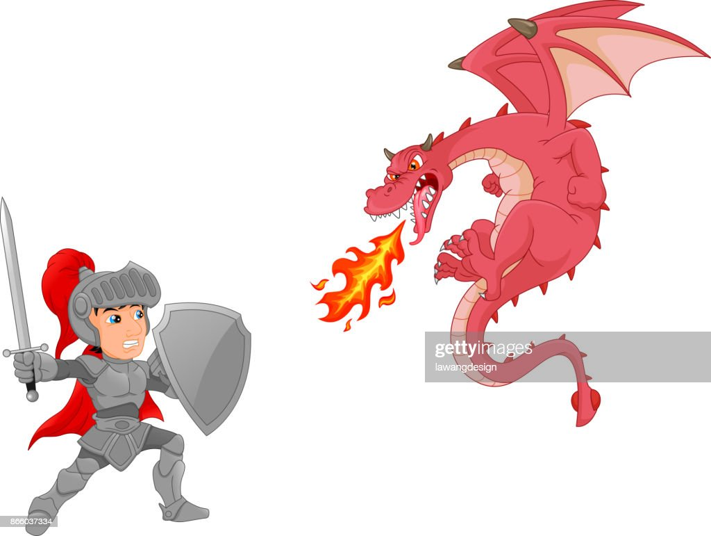 knight with angry dragon cartoon