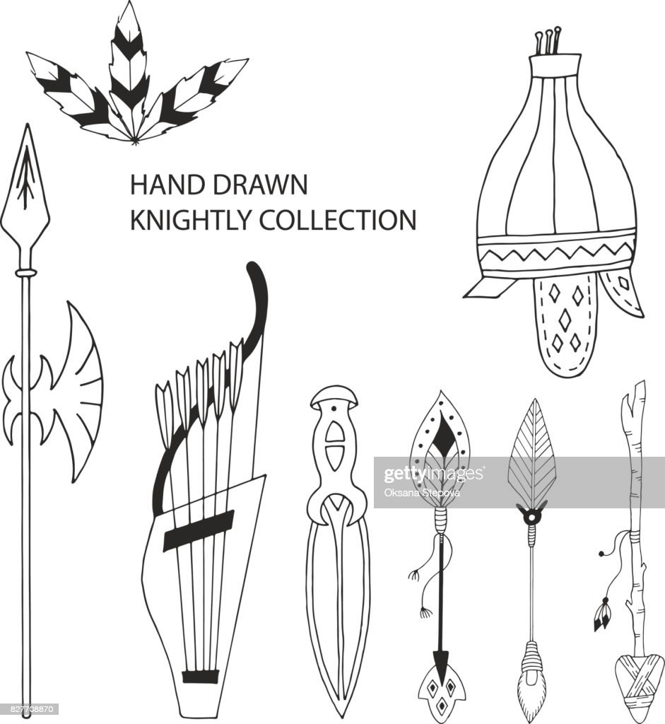 Knightly hand drawn elements collection. Vector illustration with helmet, spear and arrows