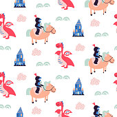 Knights and dragons seamless vector pattern