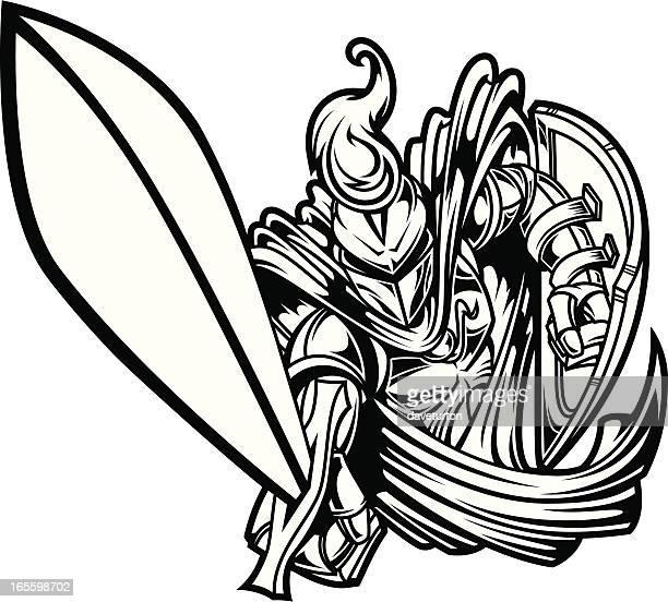 ilustrações de stock, clip art, desenhos animados e ícones de cavaleiros carregar ii b & w - luta de espadas