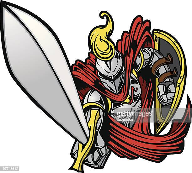 knights charge ii - fighting stance stock illustrations, clip art, cartoons, & icons