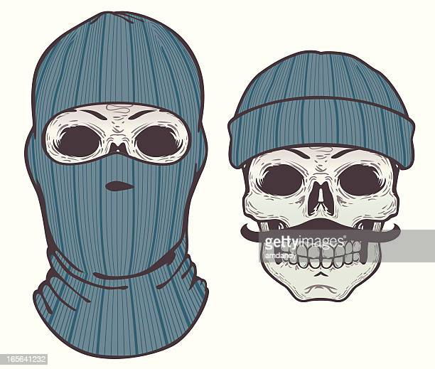 knit face mask - up or down - balaclava stock illustrations