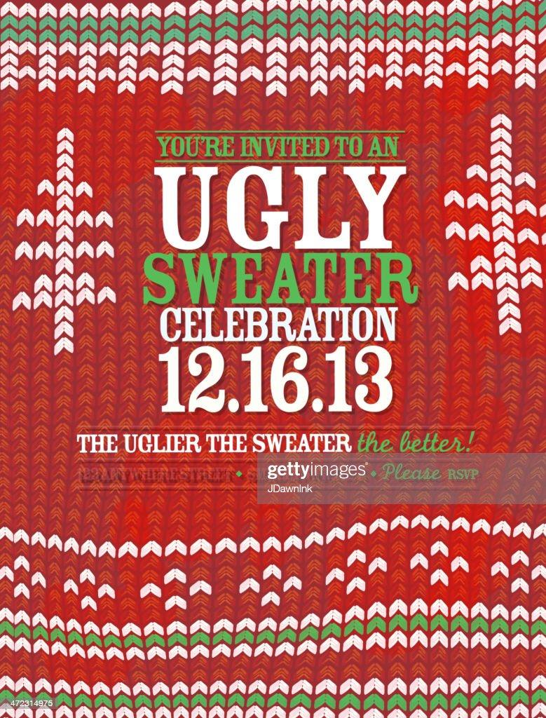 Knit Pattern Ugly Sweater Holiday Party Celebration Invitation ...