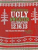 Knit pattern 'Ugly Sweater' Holiday party celebration invitation design template