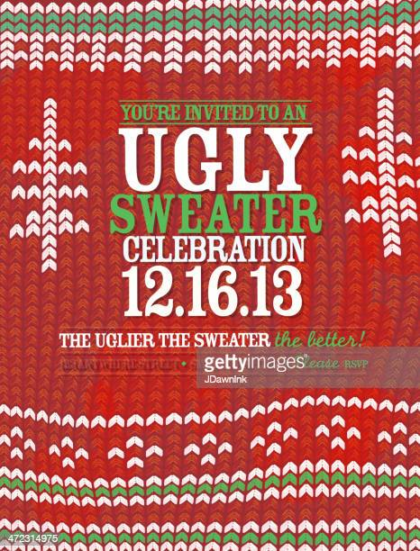 knit pattern 'ugly sweater' holiday party celebration invitation design template - sweater stock illustrations, clip art, cartoons, & icons