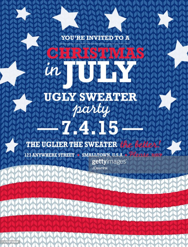 Knit pattern 'Ugly Sweater in July' Holiday party invitation vertical
