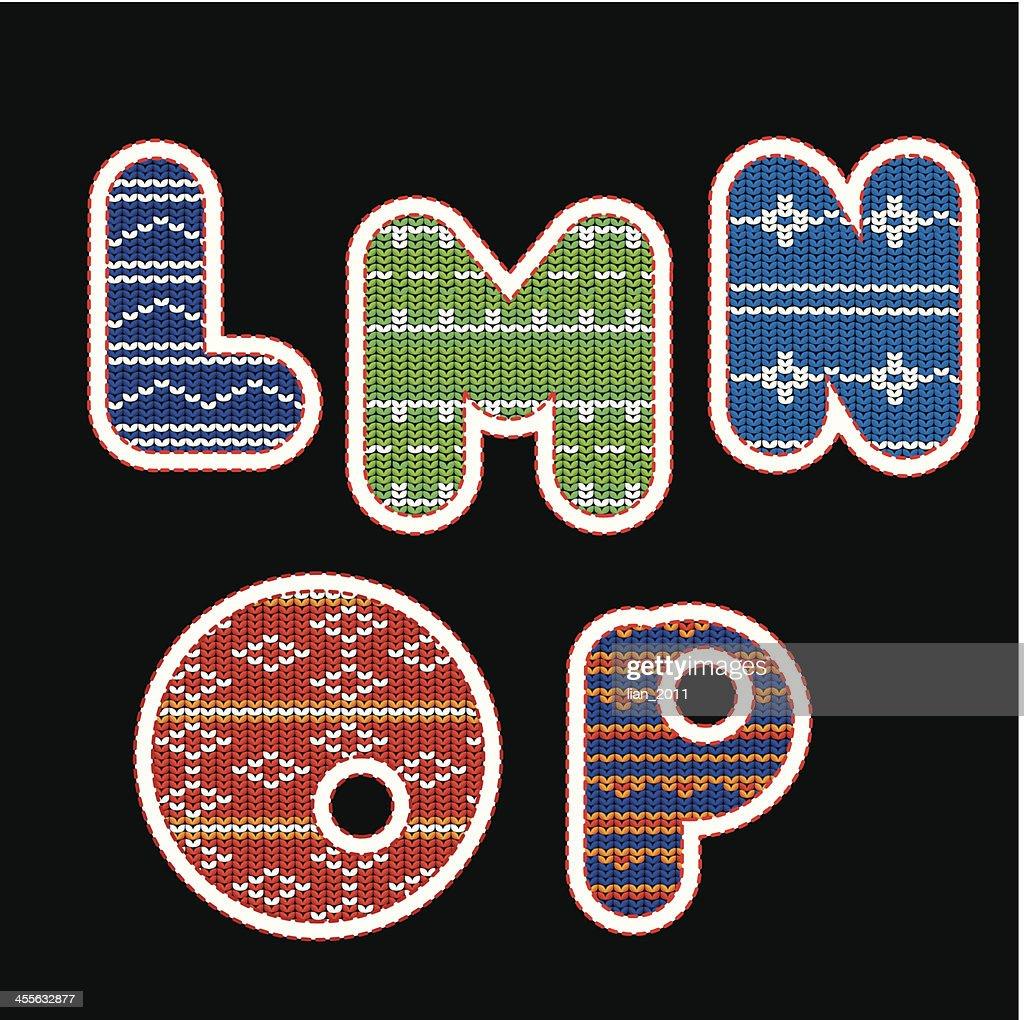 knitted alphabet - LMNOP