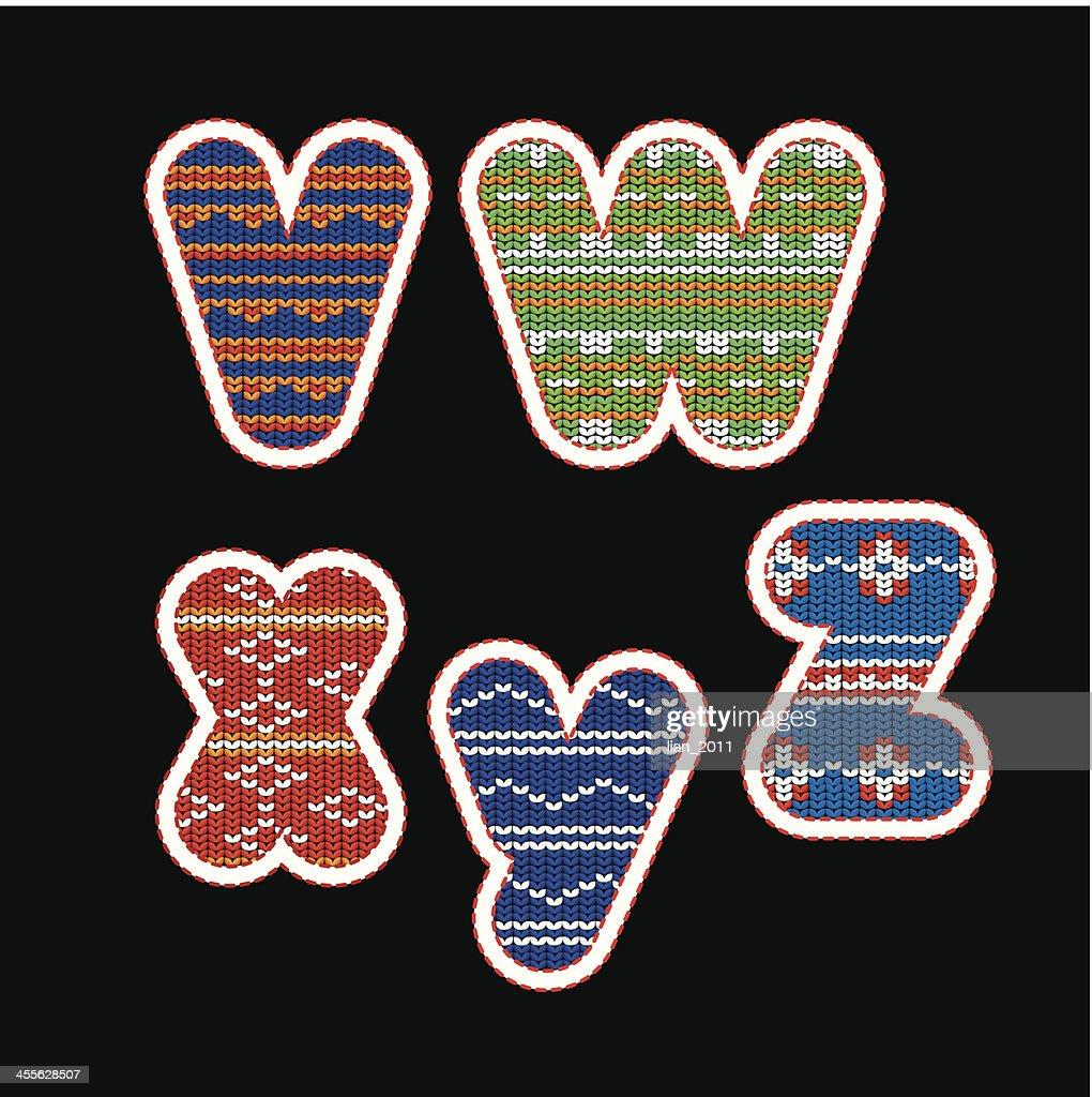 knitted alphabet - VWXYZ