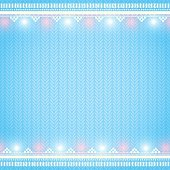 Knitted blue background with Christmas lights borders.