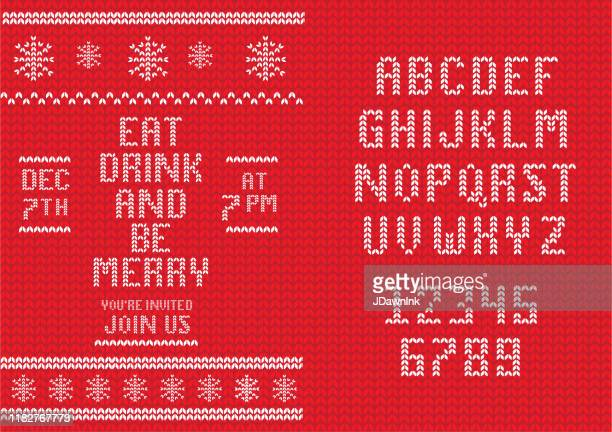 illustrazioni stock, clip art, cartoni animati e icone di tendenza di knitted christmas invitation design template with set of alphabet font design - testo