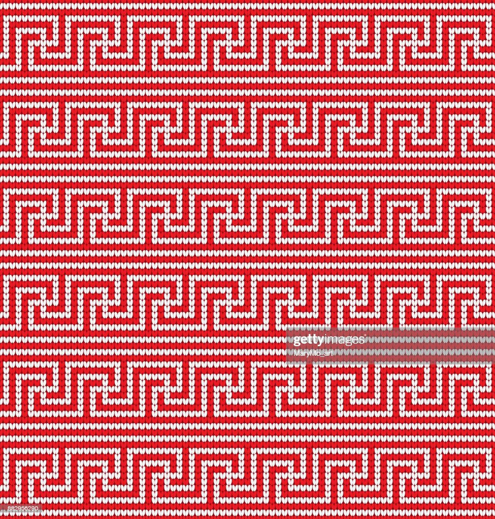 Knitted greek seamless texture