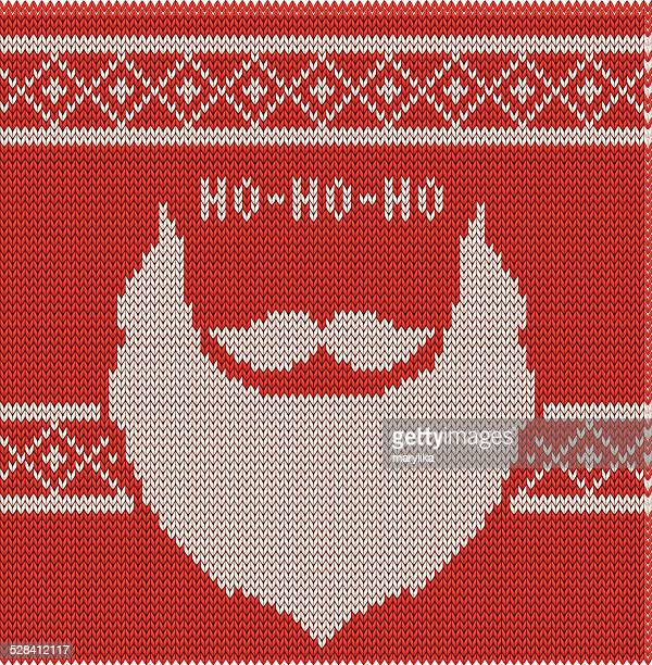 knitted hipster santa ho-ho-ho, moustache and beard - sweater stock illustrations, clip art, cartoons, & icons