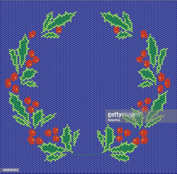 knitted holly wreath - sweater stock illustrations, clip art, cartoons, & icons