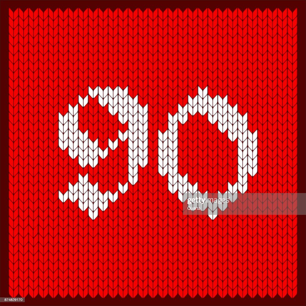 knitted number 90