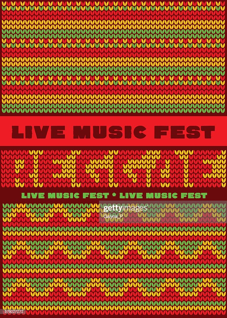 knitted pattern reggae color music background.