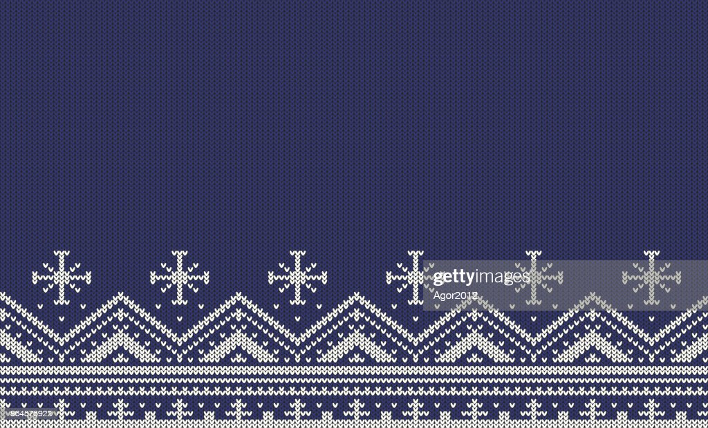 Knitted Seamless Pattern With Stripes Zigzags And Snowflakes White