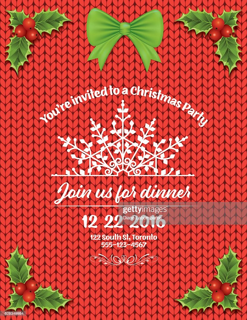 Knitted Sweater Holiday Dinner Party Invitation Template Vector Art ...