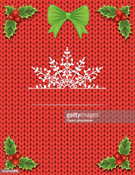 knitted sweater with holiday decorations and room for text - sweater stock illustrations, clip art, cartoons, & icons