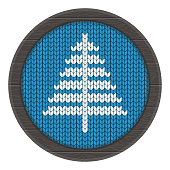 knitted xmass tree on frame blue