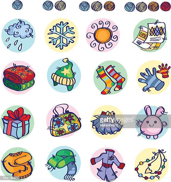 knitters icon part2 - blanket stock illustrations, clip art, cartoons, & icons
