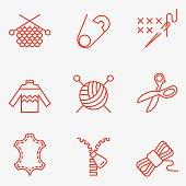 Knitting and needlework icons