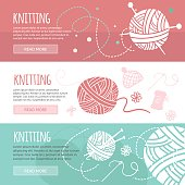 Knitting and sewing horizontal banners set
