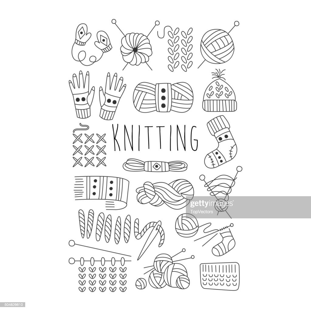 Knitting. Black and White Vector Hand drawn Set