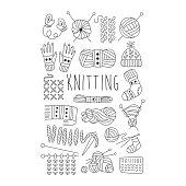 Knitting. Black and White Vector Hand drawn Set
