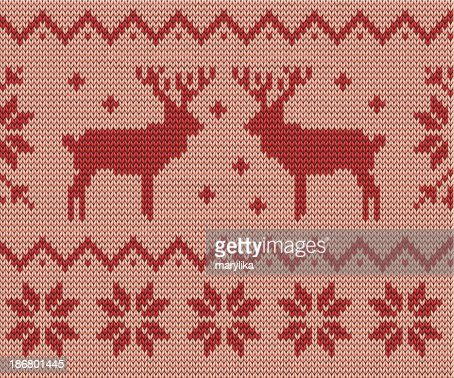 Knitting Pattern With Deers And Snowflakes Vector Art Getty Images