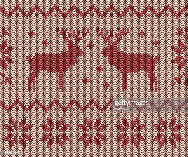 knitting pattern with deers and snowflakes - sweater stock illustrations, clip art, cartoons, & icons